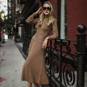 Zara Camel Wool Turtleneck Sweater & Skirt Set